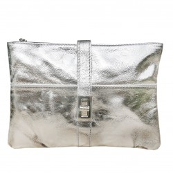 Italian leather clutch silver
