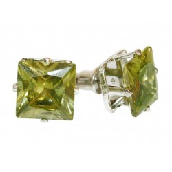 Stud earrings with green...