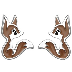 Children stud earrings fox...
